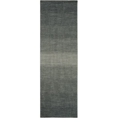 Somers Hand-Woven Gray/Black Area Rug Rug Size: Runner 26 x 8