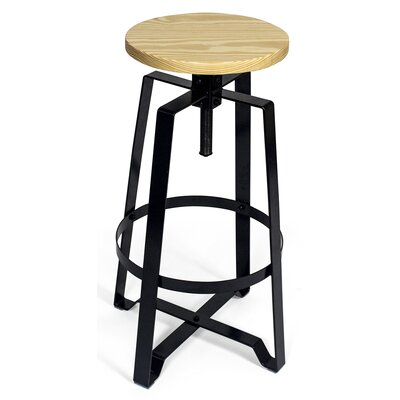 Halie Adjustable Height Round Swivel Bar Stool