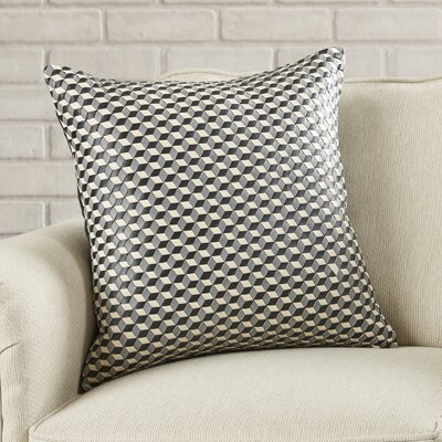 Chilton Woven Cubes Leather Throw Pillow