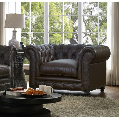 Damon Antique Brown Leather Club Chair