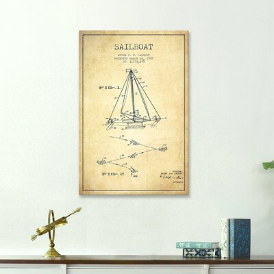 Double Ended Sailboat Vintage Patent Blueprint Graphic Art on Wrapped Canvas TADN5292 32123714