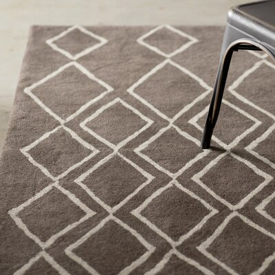 Cherico Hand-Tufted Ivory/Dark Gray Area Rug Rug Size: Square 6