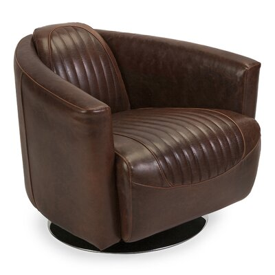 Gracinha Leather Retro Tub Barrel Chair