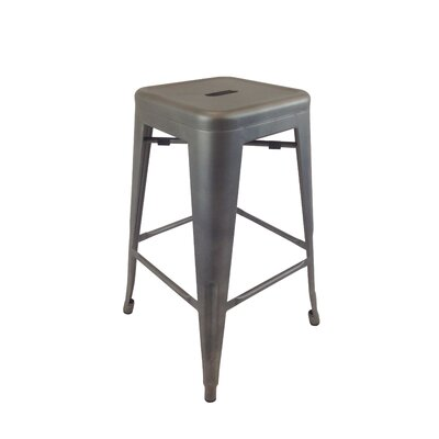 Lemoore 30 Bar Stool (Set of 4) Upholstery: Gun Metal