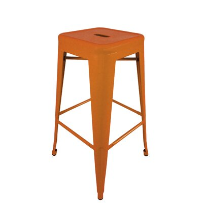 Abron 30 Bar Stool (Set of 4) Upholstery: Orange