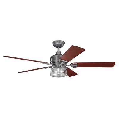60 Pakwa 5 Blade Patio LED Ceiling Fan Finish: Weathered Steel with Walnut Blades