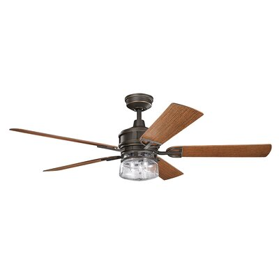 60 Pakwa 5 Blade Patio LED Ceiling Fan Finish: Olde Bronze with Dark Walnut Blades