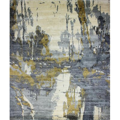 Bentson Hand-Knotted Ivory/Blue Area Rug Rug Size: Rectangle 9 x 12
