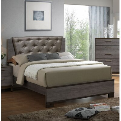 Pinnacles Upholstered Panel Bed Size: King