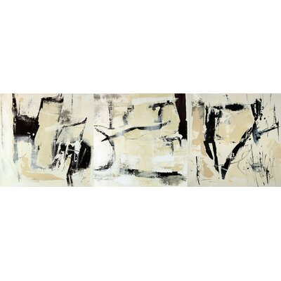 'Pieces Triptych' Painting Print on Wrapped Canvas Size: 12