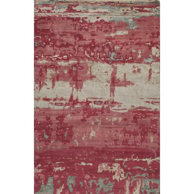 Moises Hand-Knotted�Red Area Rug Rug Size: Rectangle 5 x 8
