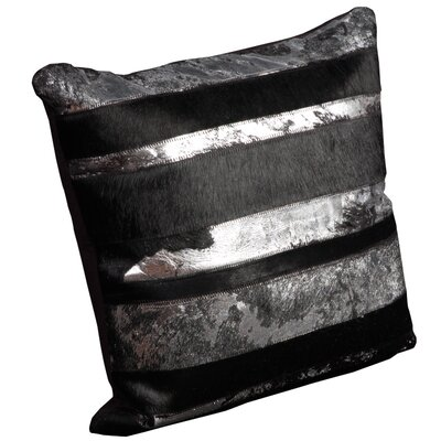 Corbe Natural Leather Hide Throw Pillow Color: Black