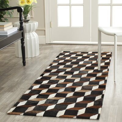 Stasia Hand-Woven Brown/Ivory Area Rug Rug Size: Runner 23 x 7
