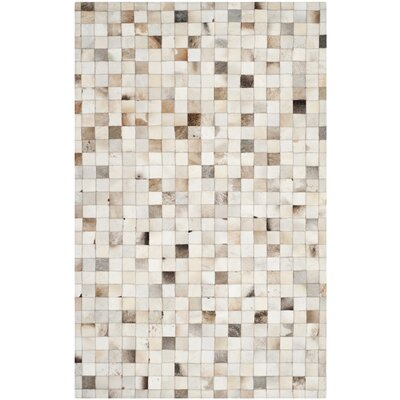 Morris Leather Hand-Woven Beige/Multi Area Rug Rug Size: 5 x 8