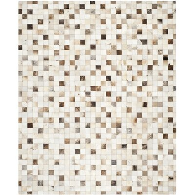 Morris Leather Hand-Woven Beige/Multi Area Rug Rug Size: 8 x 10