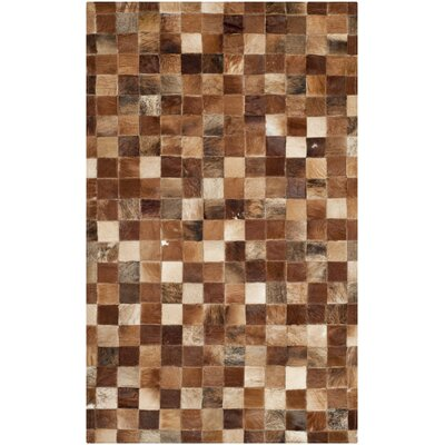 Barr Leather Brown/Light Brown Rug Rug Size: 3 x 5