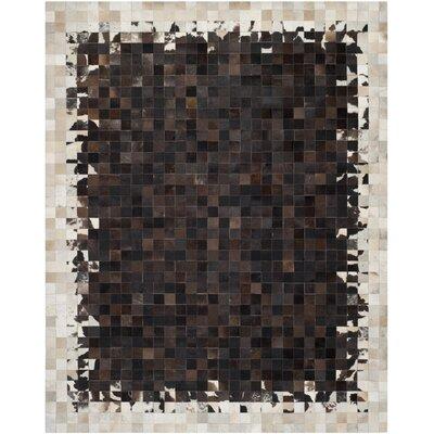Morris Ivory / Dark Brown Geometric Rug Rug Size: 8 x 10