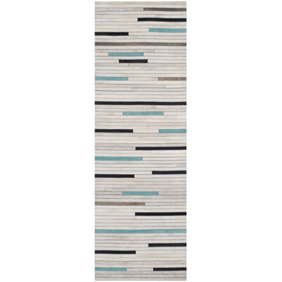 Stasia Leather Multi Contemporary Area Rug Rug Size: Runner 23 x 7