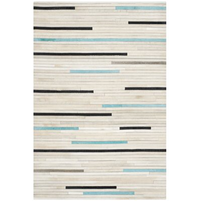 Stasia Leather Multi Contemporary Area Rug Rug Size: 4 x 6