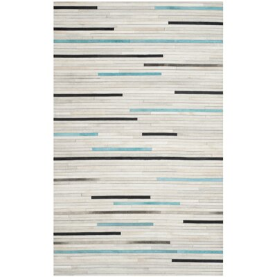 Stasia Leather Multi Contemporary Area Rug Rug Size: 5 x 8