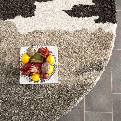 Hanover Beige & Grey Area Rug Rug Size: Round 67