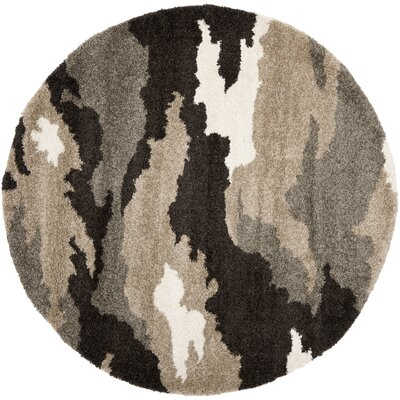Hanover Beige/Brown Area Rug Rug Size: Round 4