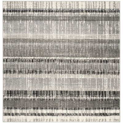 Whisperwood Cream / Dark Gray Area Rug Rug Size: Square 6