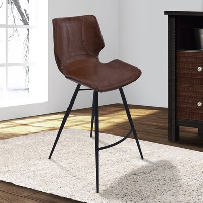 Okmulgee 26 Bar Stool with Cushion Upholstery: Vintage Coffee