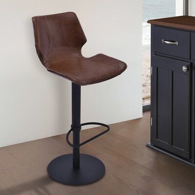 Oklahoma Adjustable Height Swivel Bar Stool with Cushion Upholstery: Vintage Coffee