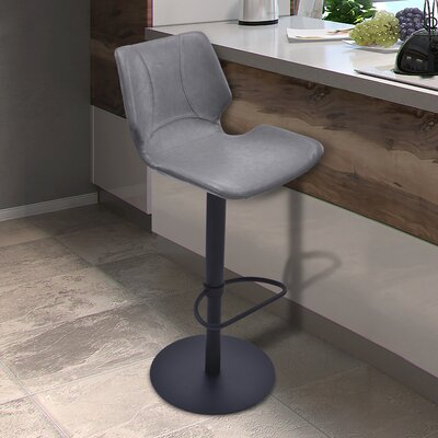Oklahoma Adjustable Height Swivel Bar Stool with Cushion Upholstery: Vintage Gray