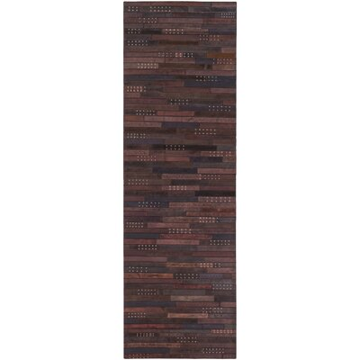 Penelope Hand-Crafted Dark Brown Area Rug Rug size: Runner 26 x 8