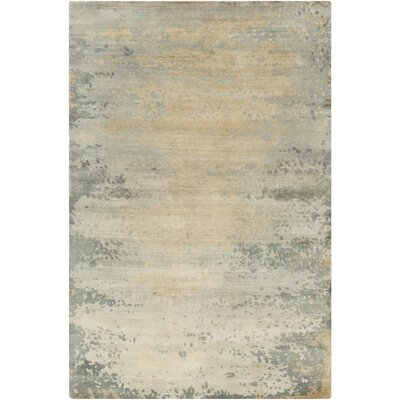 Siobhan Hand-Knotted Light Gray Area Rug Rug size: Rectangle 5 x 8
