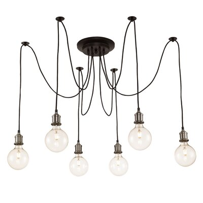 Colton 6-Light Cascade Pendant Finish: Brushed Nickel/Rubbed Oil Bronze