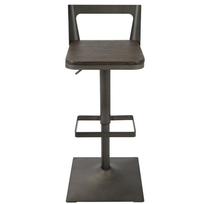 Flagler Adjustable Height Swivel Bar Stool Finish: Antique/Espresso