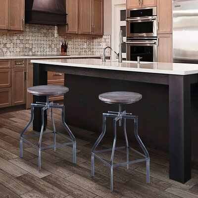 Radersburg Adjustable Height Swivel Bar Stool Finish: Industrial Grey