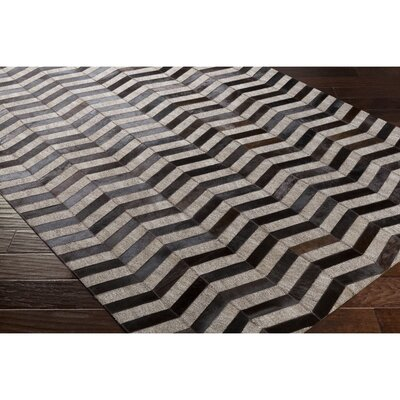 Armando Hand-Crafted Chevron Black/Brown Area Rug Rug Size: Rectangle 2 x 3