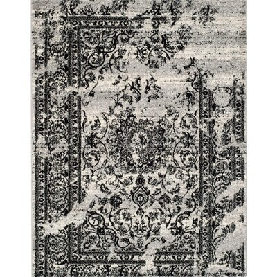 Costa Mesa Silver/Black Area Rug Rug Size: Rectangle 9 x 12