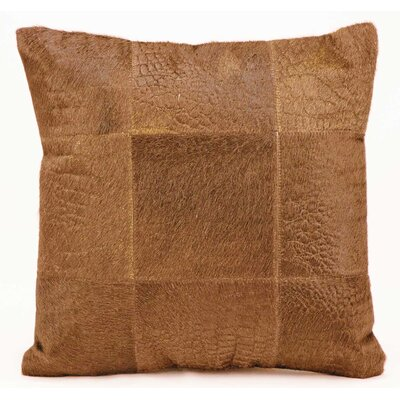 Sulphur Natural Leather Hide Throw Pillow