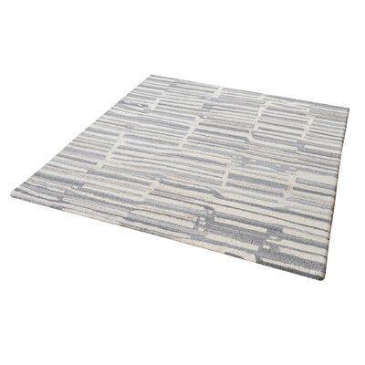 Foxborough Hand-Tufted Gray/White Area Rug Rug Size: Square 6