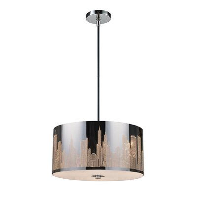 Canton 3-Light Incandescent Drum Pendant