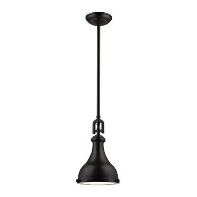 Rockridge 1-Light Mini Pendant Size: 14 H x 18 W x 18 D, Finish: Polished Nickel, Shade Color: Weathered Zinc