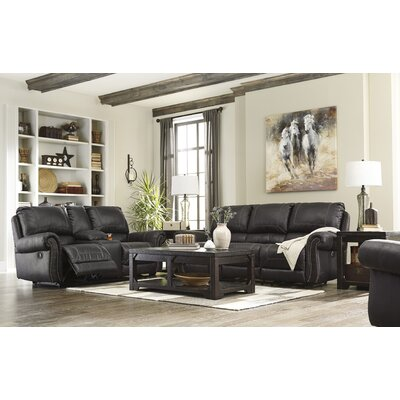 Collier Double Recliner Reclining Sofa with Console Upholstery: Black, Type: Power