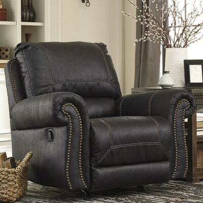 Collier Manual Rocker Recliner Reclining Type: Manual, Upholstery: Black