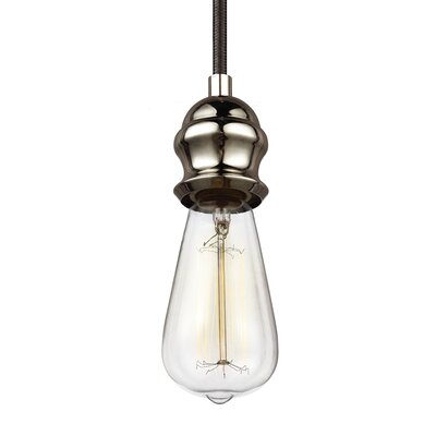 Boone 1-Light Mini Pendant Base Finish: Black, Finish: Aged Pewter