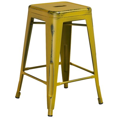 Lompoc 24 Bar Stool Finish: Distressed Yellow