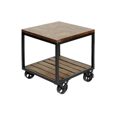 Firebaugh 2 Tier Industrial Trolley Wheel End Table