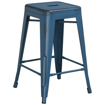 Lompoc 24 Bar Stool Finish: Distressed Kelly Blue
