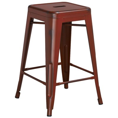 Lompoc 24 Bar Stool Finish: Distressed Kelly Red