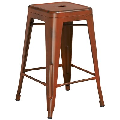Lompoc 24 Bar Stool Finish: Distressed Orange
