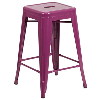 Lompoc 24 Bar Stool Finish: Glossy Purple